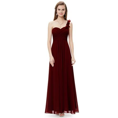 Ever-Pretty Women's Flower One Shoulder Bridesmaids Dresses for Juniors 09768J Burgundy US5