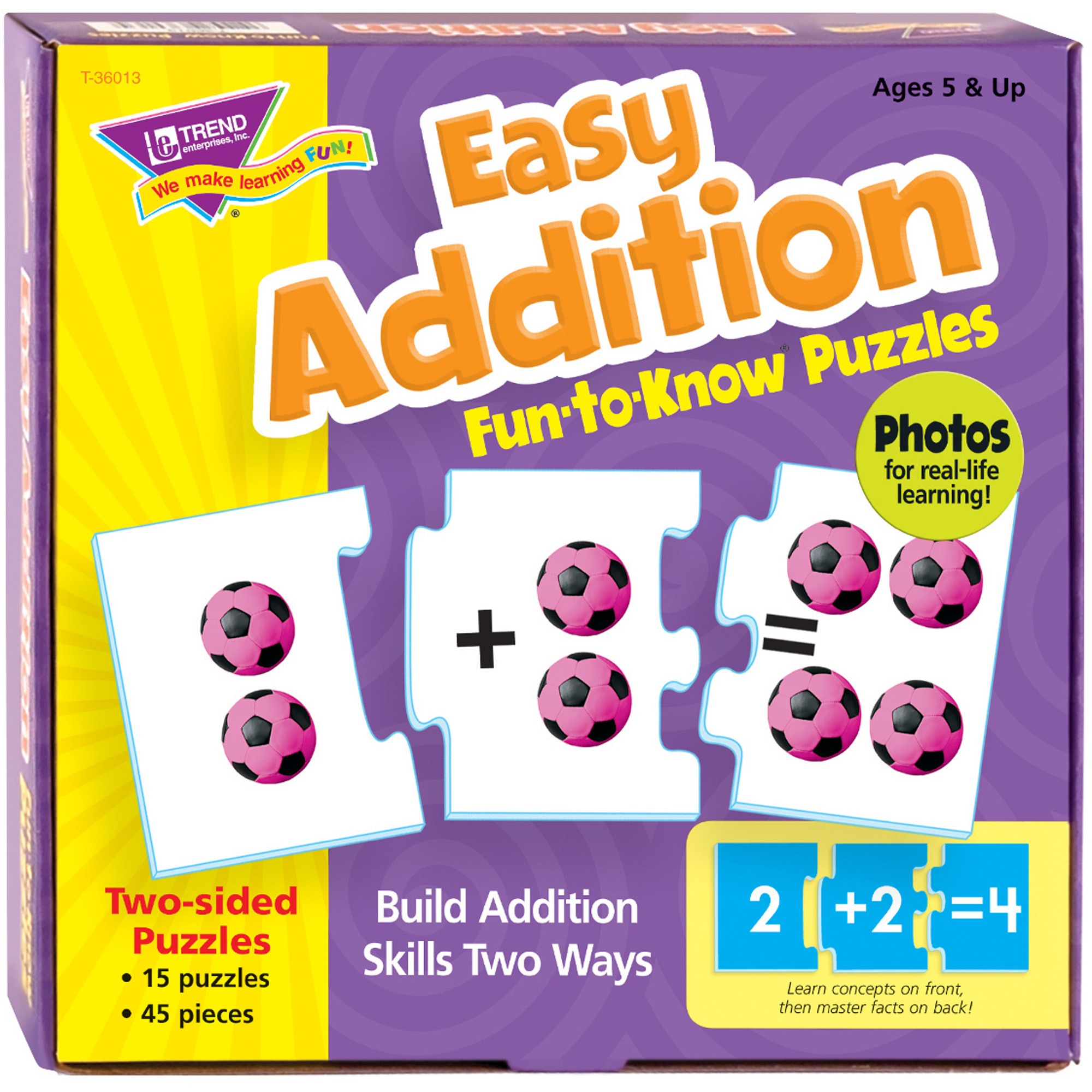 Trend, TEPT36013, Easy Addition Fun-to-Know Puzzles, 1 Each, Multicolor