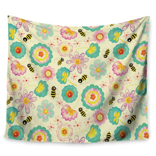 East Urban Home Floral Bee by Louise Machado Wall Tapestry