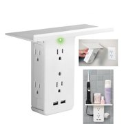 8 Port Electrical Socket Shelf Surge Protector Wall Outlet 6 Outlet Extenders(White)
