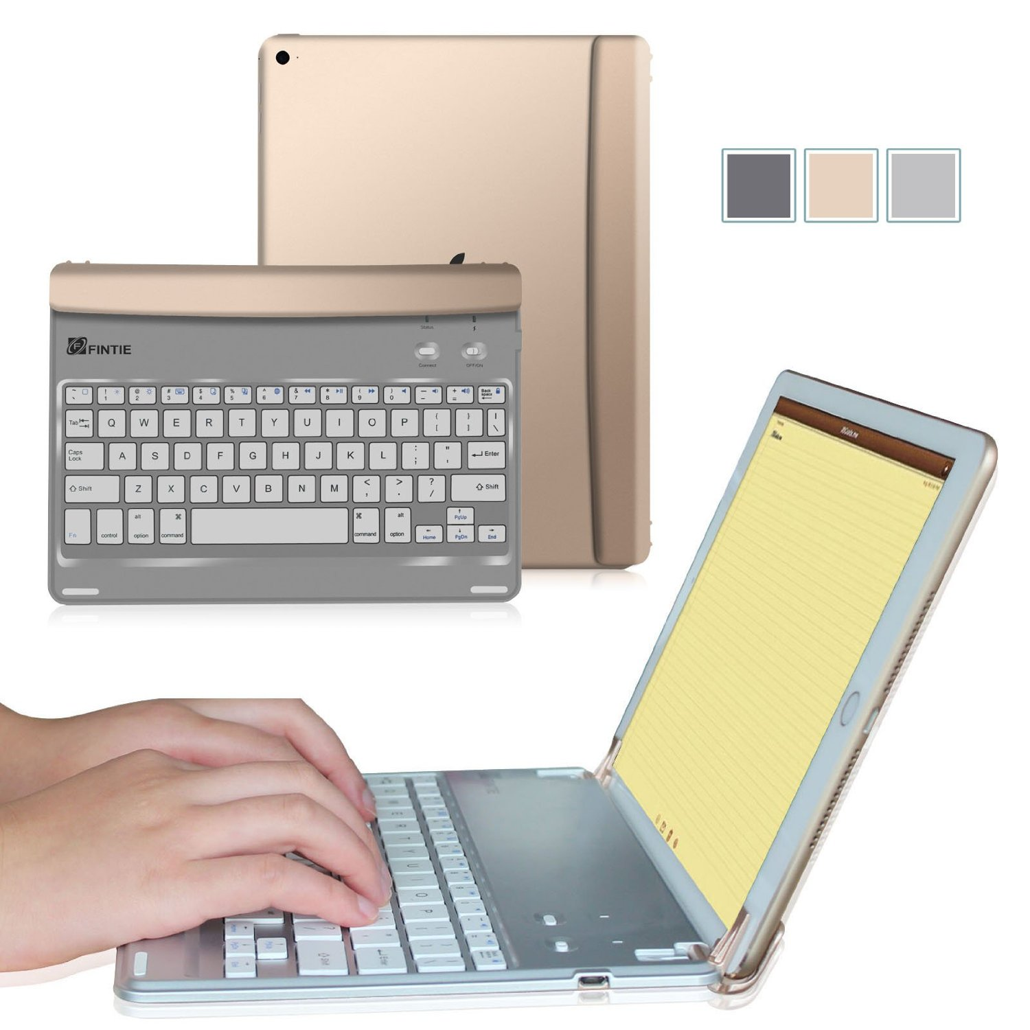 Fintie Apple iPad mini 1/2/3 Cover - Blade Z1 Slim Multi-Angle Wireless Bluetooth Keyboard Auto Wake/Sleep, Gold