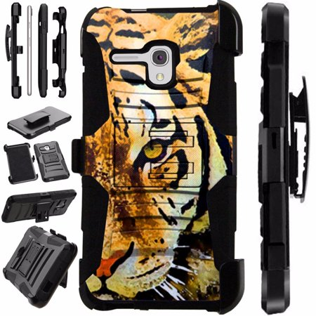 For Alcatel Pixi Glory Case / Flint Case / OneTouch Fierce XL 4G LTE Case Heavy Duty Hybrid Armor Dual Layer Cover Kick Stand Rugged LuxGuard Holster (Half Tiger)