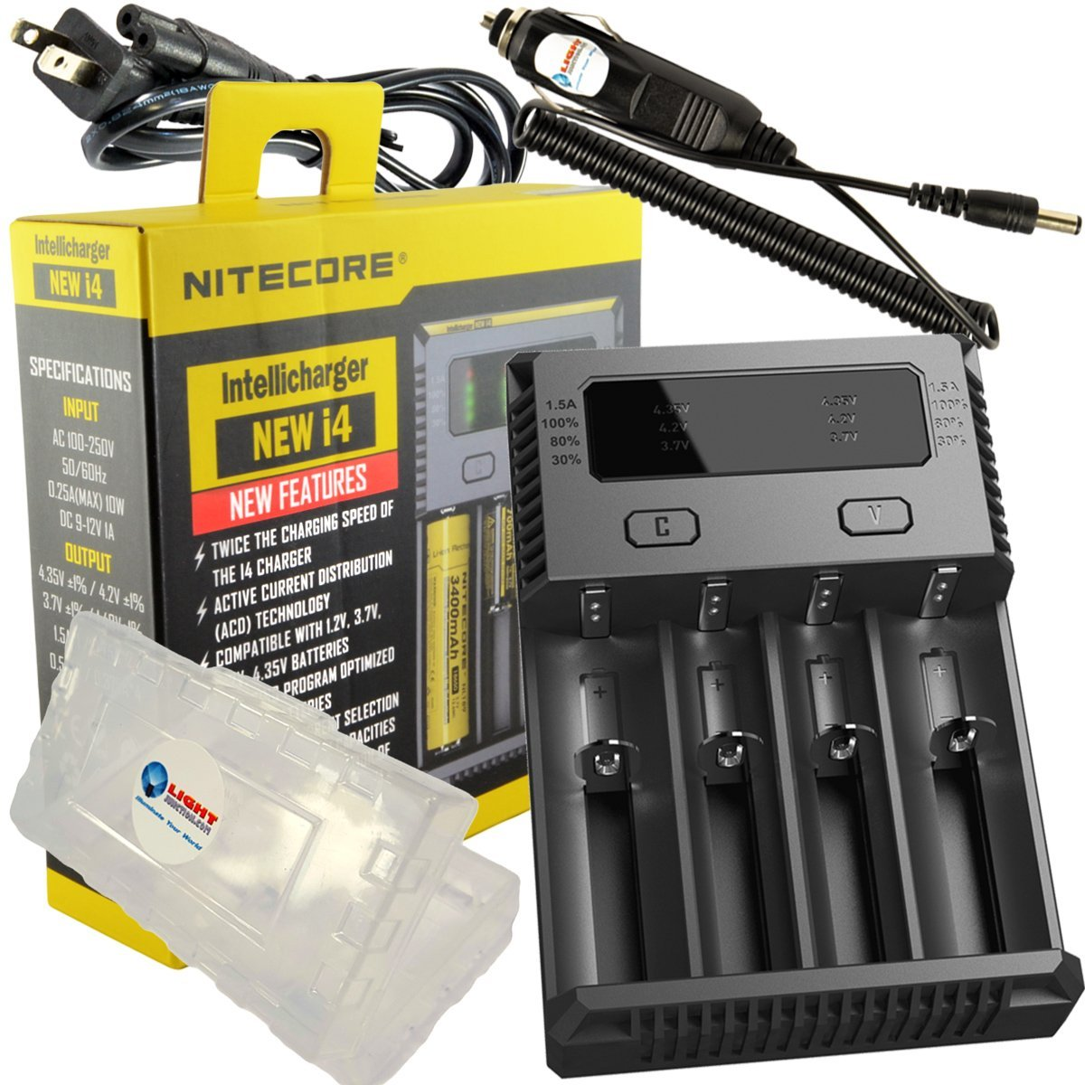 BUNDLE: Nitecore i4 V2016 NEW 2016 version Intellicharger Universal Smart Battery Charger for Li-ion / IMR / Ni-MH/ Ni-Cd w/ Car Adapter, and Lightjunction Battery Case