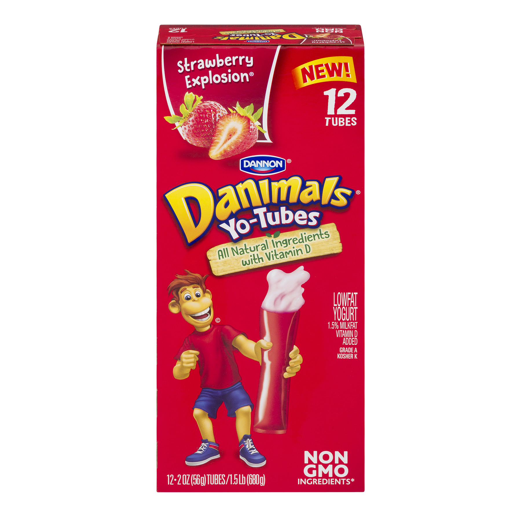Dannon Danimals Yo-Tubes Lowfat Yogurt Strawberry Explosion - 12 CT