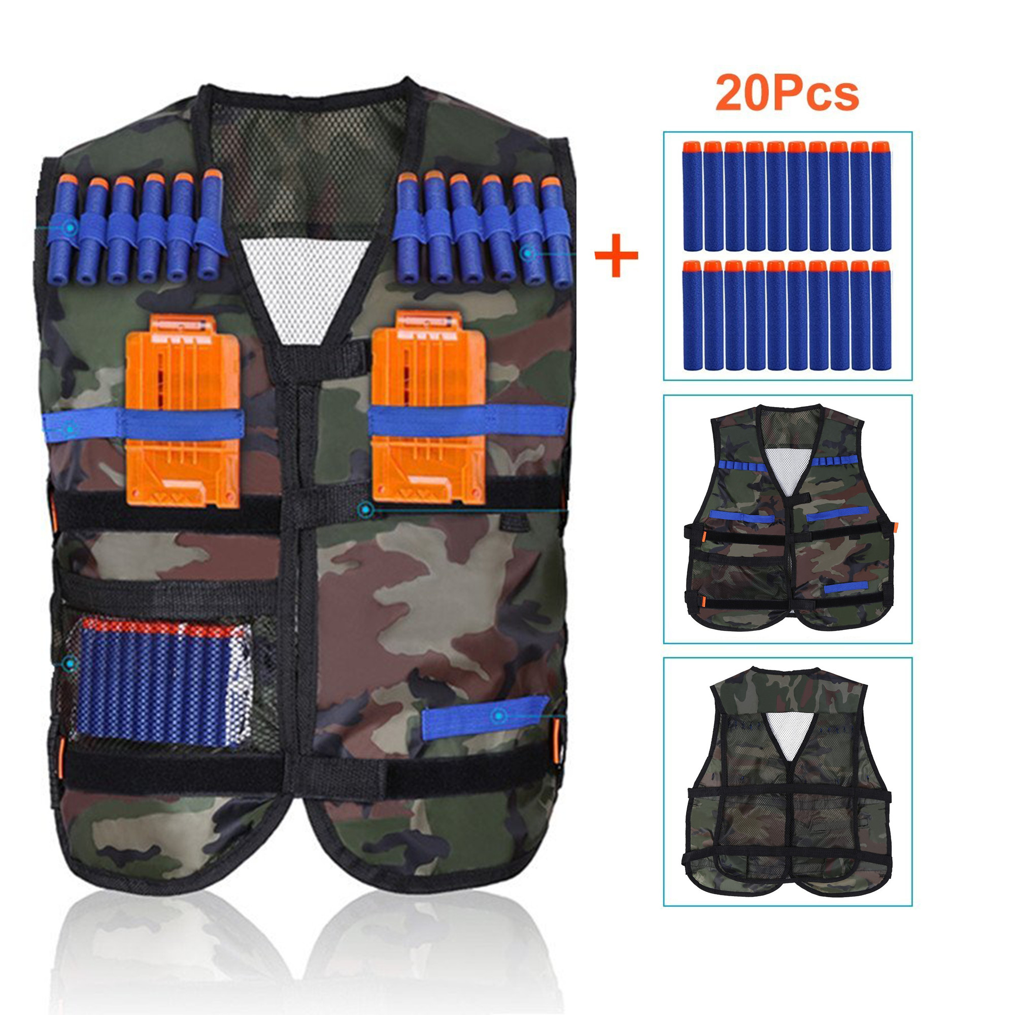 WALFRONT Kids Elite Camouflage Tactical Vest + 20 Pcs Blue Soft Foam Darts for Gun Elite Series(Not Including 2 Clips)
