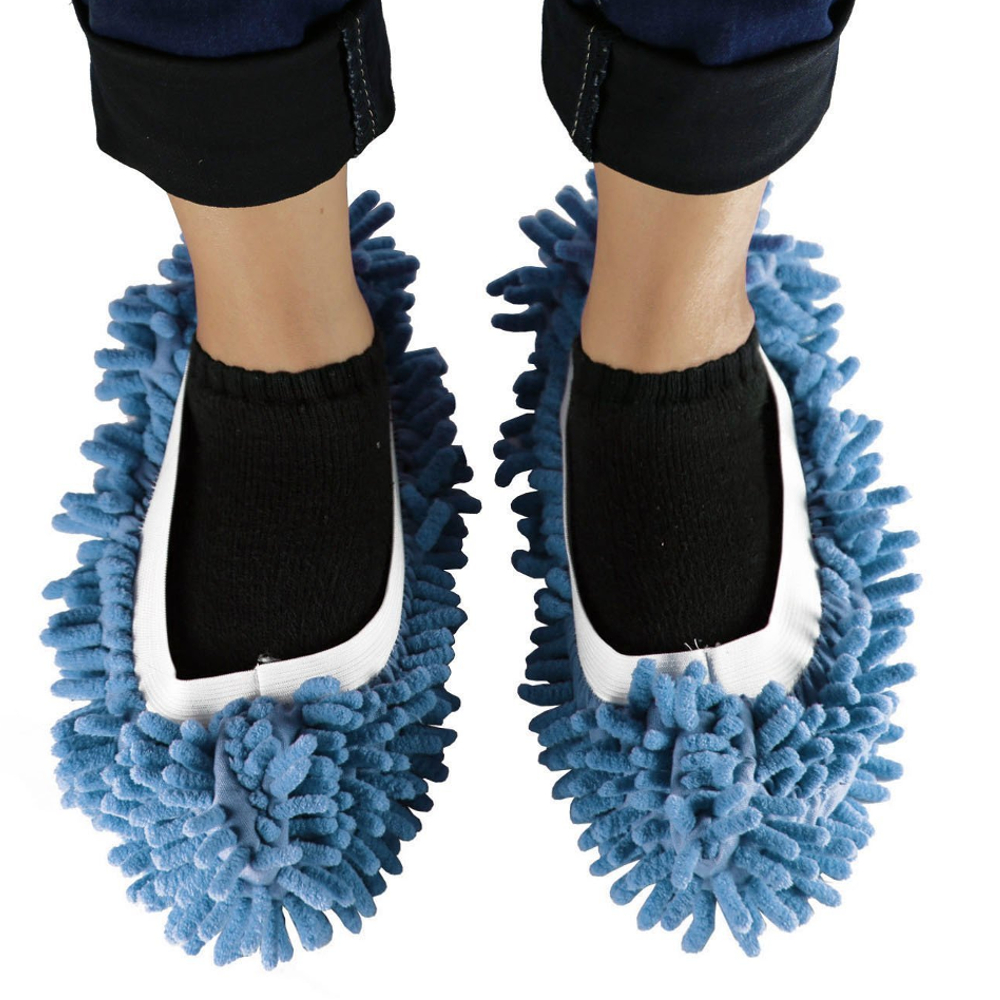Micro Fiber Floor Mop Slip Washable Dust Mop Cleaning Shoes - Blue