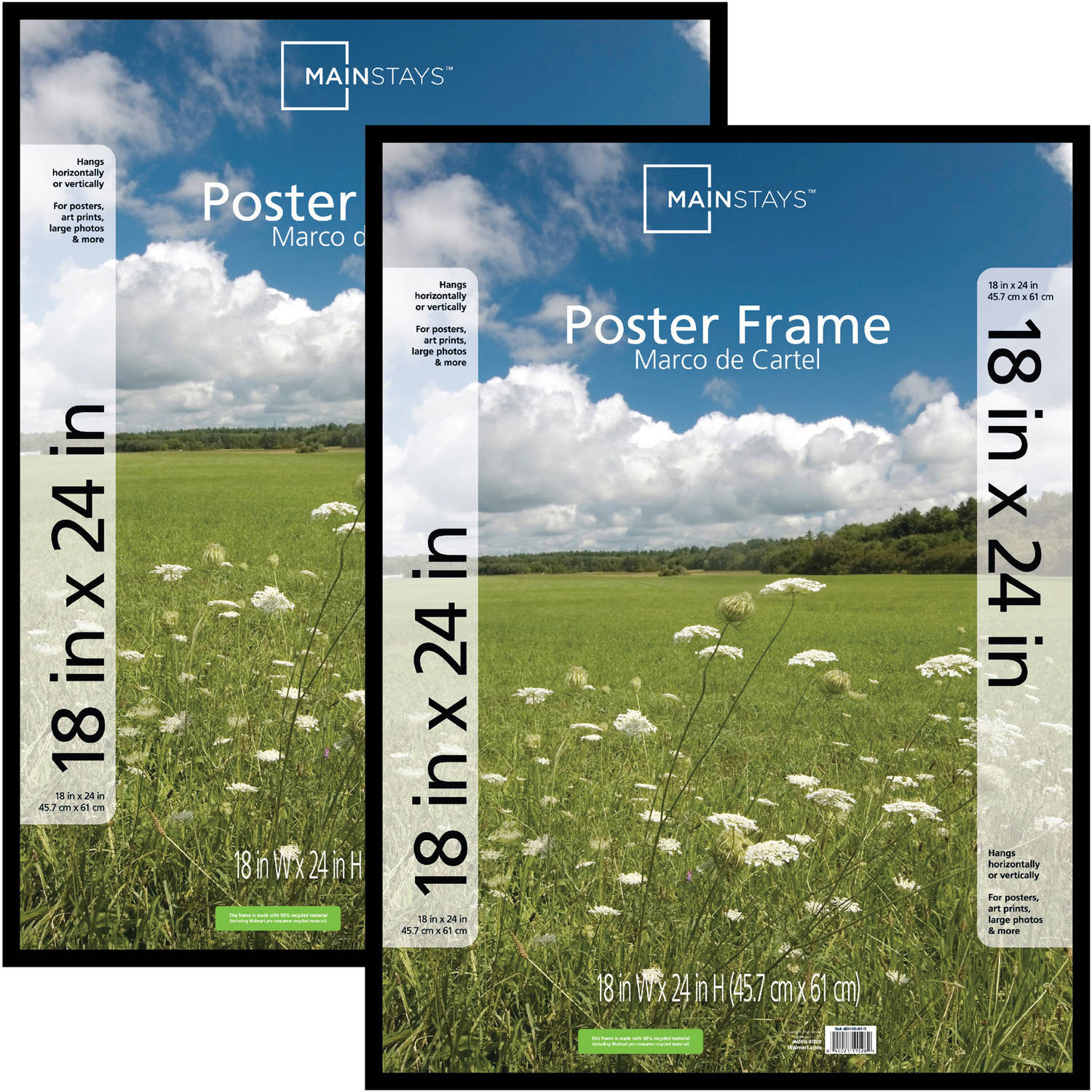 Mainstays 18x24 Basic Poster & Picture Frame, Black, Set of 2
