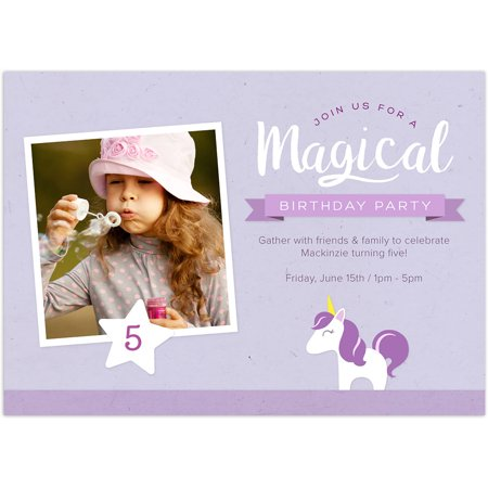 Unicorn Party Birthday Young Girl - Halloween First Birthday Photo Invitations