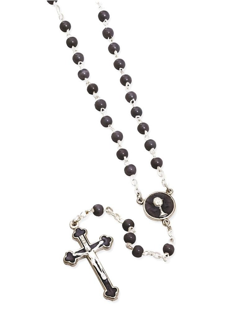 ICE CARATS Black First Communion Keepsake Rosary Religious Baptism/christening/communion Fashion Jewelry Ideal Gifts For Women Gift Set From Heart