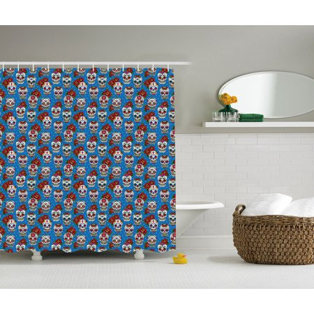 Skulls Decorations Shower Curtain Set Pattern With Roses In Floral Mexican Style Bathroom