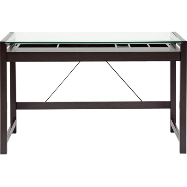 Baxton Studio 47.25 in. Idabel Brown Wooden Desk with Glass Top by Baxton Studio