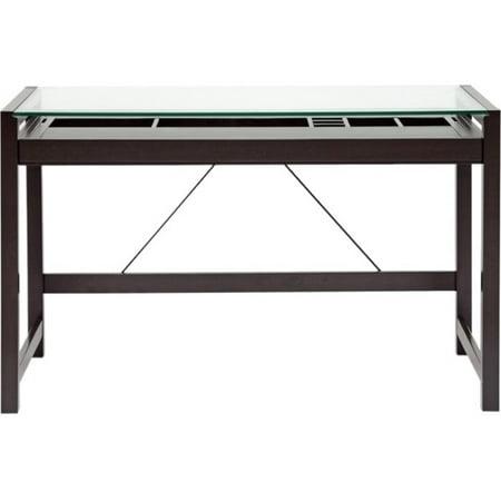 Dark Wood Top (Baxton Studio Idabel Dark Brown Wood Modern Desk with Glass)