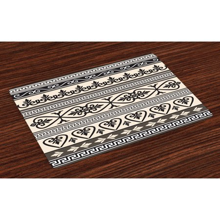 Ethnic Placemats Set of 4 Antique Ancient Leaves Hearts Borders Roman Florals Ivy Theme Artwork Image, Washable Fabric Place Mats for Dining Room Kitchen Table Decor,Taupe Black Tan, by Ambesonne - Roman Leaves