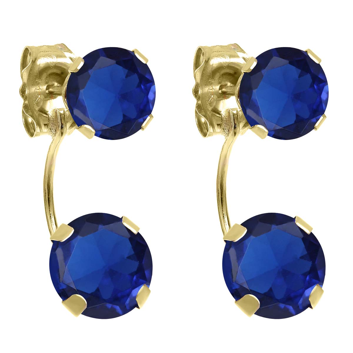 3.10 Ct Round Blue Simulated Sapphire 14K Yellow Gold Earrings