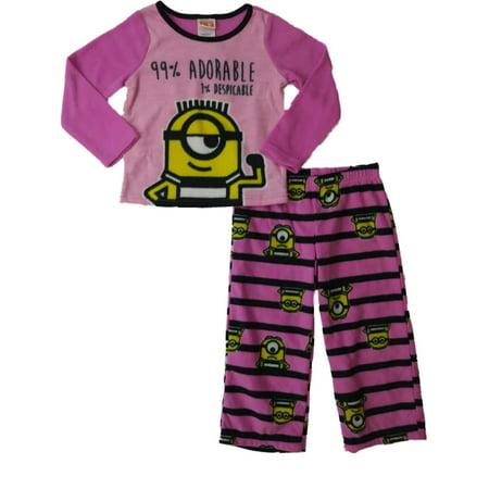 528df1b1bbe5 Despicable Me - Girls Despicable Me 99% Adorable 1% Despicable Fleece  Pajamas 2-Piece Sleep Set - Walmart.com