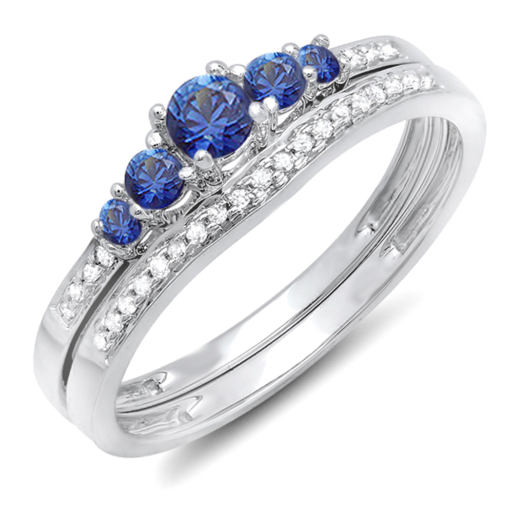 14K White Gold Blue Sapphire & White Diamond Ladies 5 Stone Bridal Engagement Ring Matching Band Set by DazzlingRock