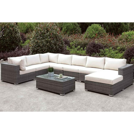 Gray Wicker U-Sectional and Coffee Table Set Furniture of America Somani