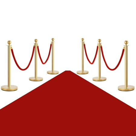 Costway 6Pcs Stanchion Posts Queue Pole Retractable 4 Velvet Ropes Crowd Control Barrier