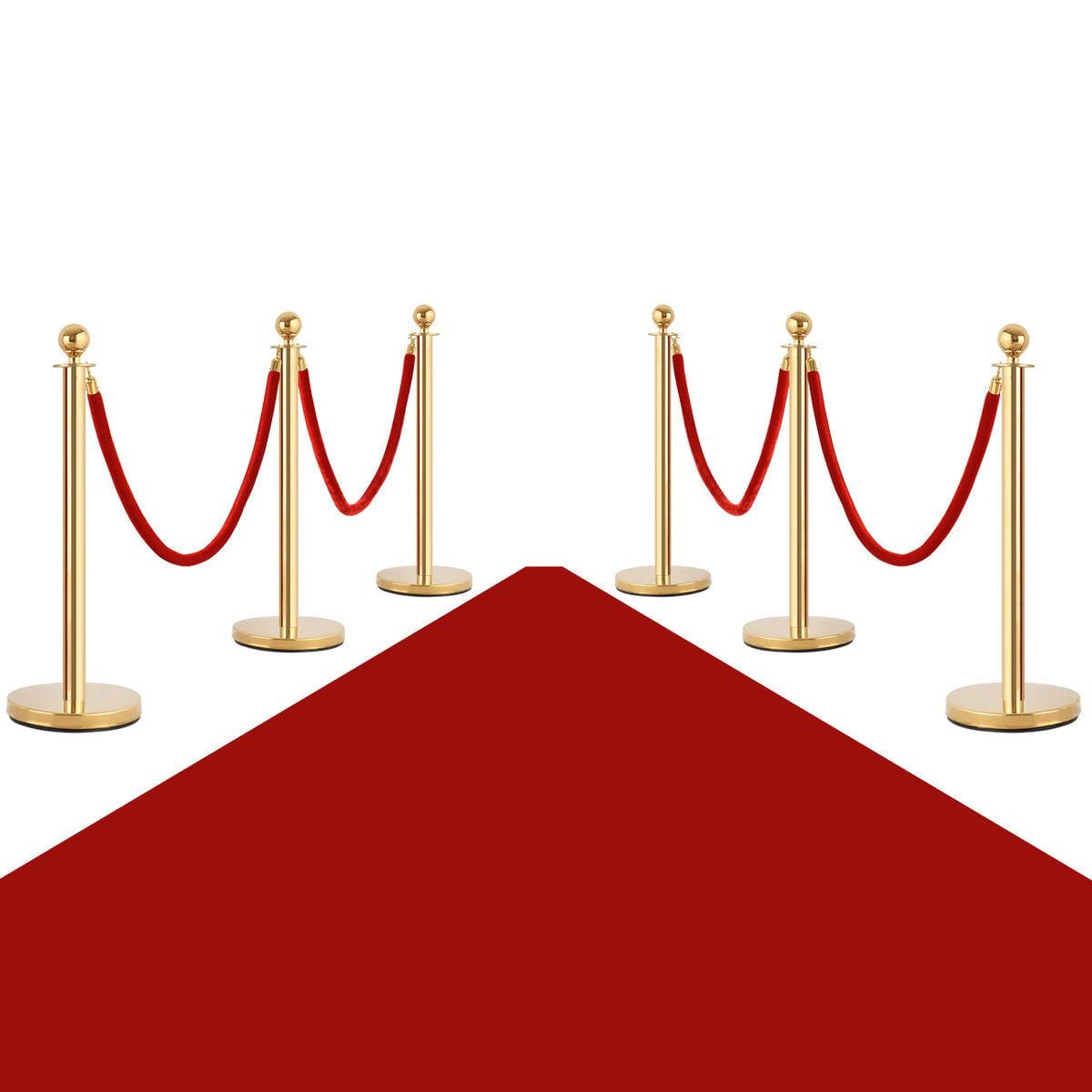 Costway 6Pcs Stanchion Posts Queue Pole Retractable 4 Velvet Ropes Crowd Control Barrier