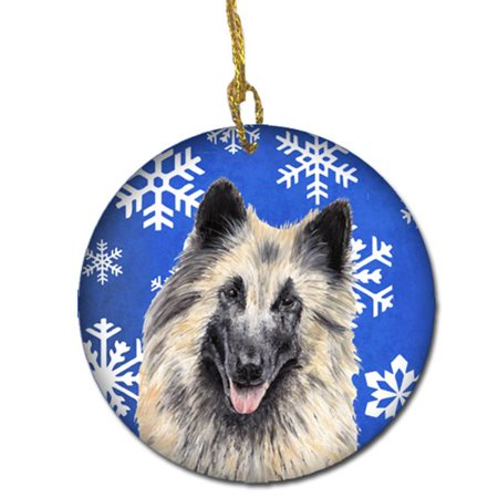 Belgian Tervuren Winter Snowflakes Holiday Ceramic (Tervuren Ornaments)