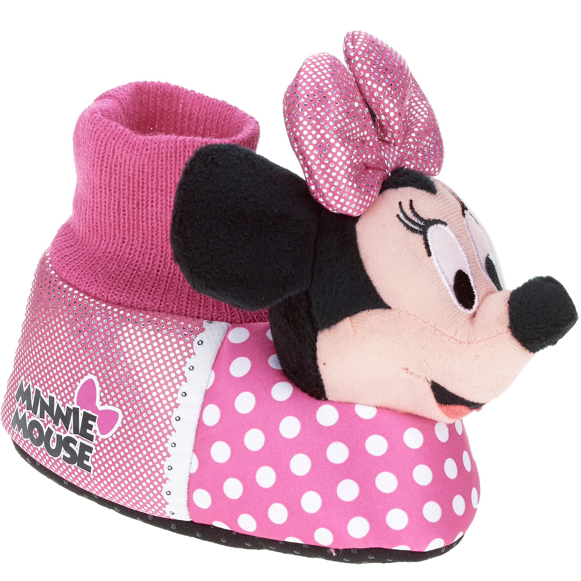 The toddler girls' pink Minnie Mouse socktop slipper features Minnie Mouse all dressed up in her best pink and white polka-dot dress with her oversized iconic matching hair bow. The stretchy comfortable socktop is crafted in coordinating pink, and Minnie is her usual smiling and happy self.