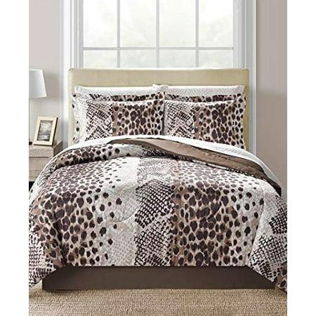 Brown Cheetah Leopard Zebra Safari Animal Prints Reversible Queen Comforter Set (8 Piece Bed in A Bag)