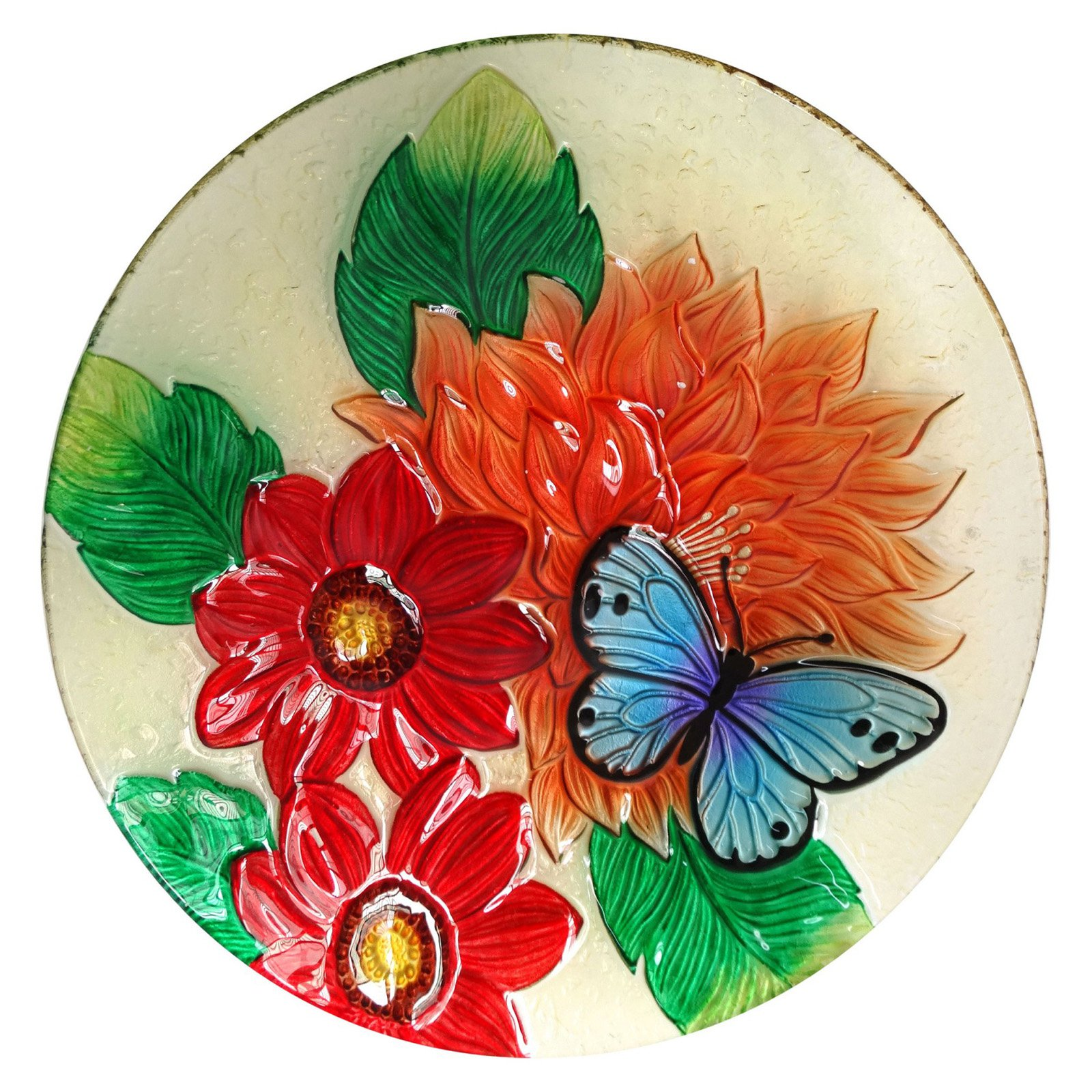 "18"" Flower with Butterfly Birdbath"