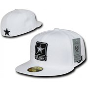 RapDom U.S. Army Strong Star Logo Flatbill Mens Fitted Cap [White - 6 7/8]