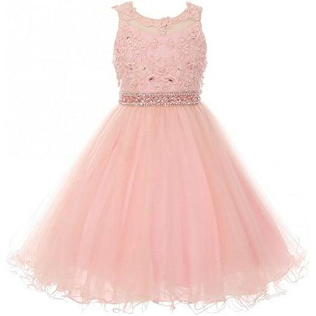 Big Girls Sleeveless Elegant Rhinestone Pearl Beaded Junior Bridesmaid Flower Girl Dress Blush 10 - Beaded Flower Girl Dresses