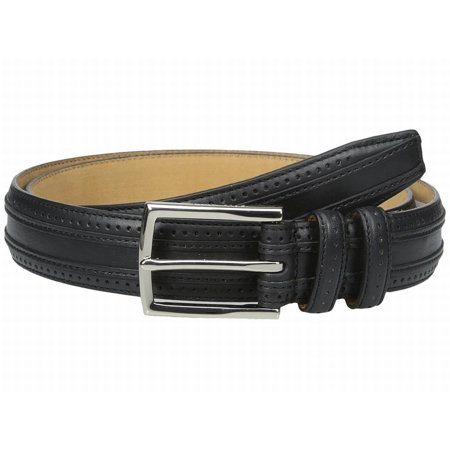 - Cole Haan NEW Black Feather Edge Stitched Strap Size 42 Leather Belt