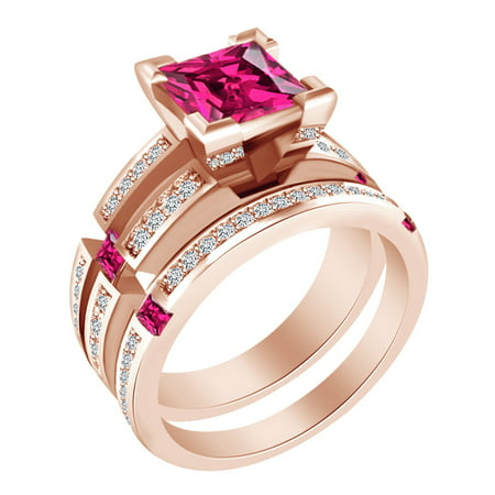 Princess & Round Shape Simulated Ruby & White CZ 14k Rose Gold Over Sterling Silver Bridal Ring Set