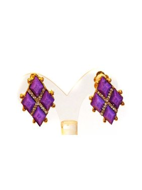 Product Image Clip On Earrings Geometric Crystal Purple Earrings1 Inch Fashion Jewelry