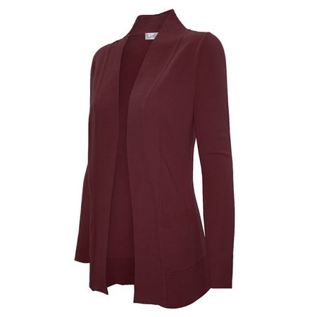 - Women Open Front Drape Classic Knit Cardigan With Pockets