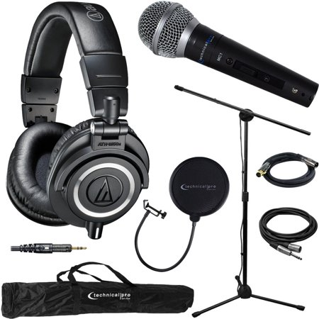 Pro Co Ameriquad Microphone Cable - Audio-Technica ATH-M50X Professional Studio Headphones (Black) & Technical Pro Microphone Bundle includes Headphones, Microphone, Stand, Holder, XLR Cables, Case and Wind Screen