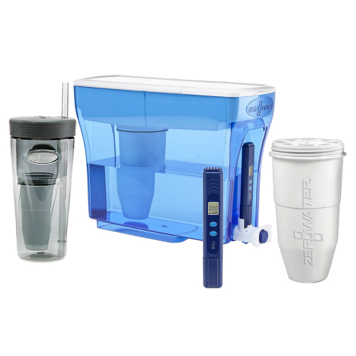 Zero Water 23-Cup Ion Exchange Water Dispenser Pitcher w/ 1 Replacement Filter & Portable Tumbler Combo