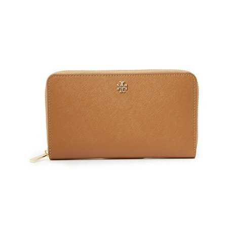NEW WOMEN'S TORY BURCH EMERSON TIGER'S EYE LEATHER ZIP CONTINENTAL WALLET (Continental Clutch Wallet)