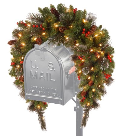 National Tree 3' Crestwood Spruce Mailbox Cover with Silver Bristle, Cones, Red Berries, Glitter and Battery Operated
