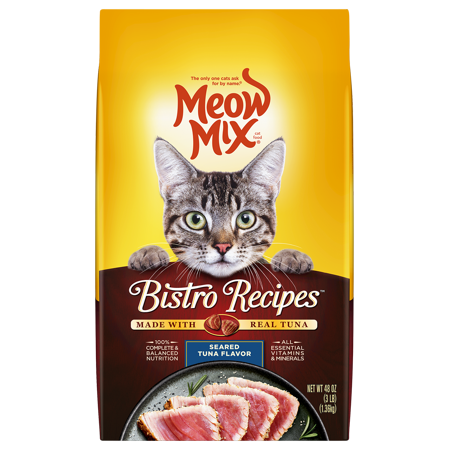 Meow Mix Bistro Recipes Seared Tuna Flavor Dry Cat Food, 3-Pound