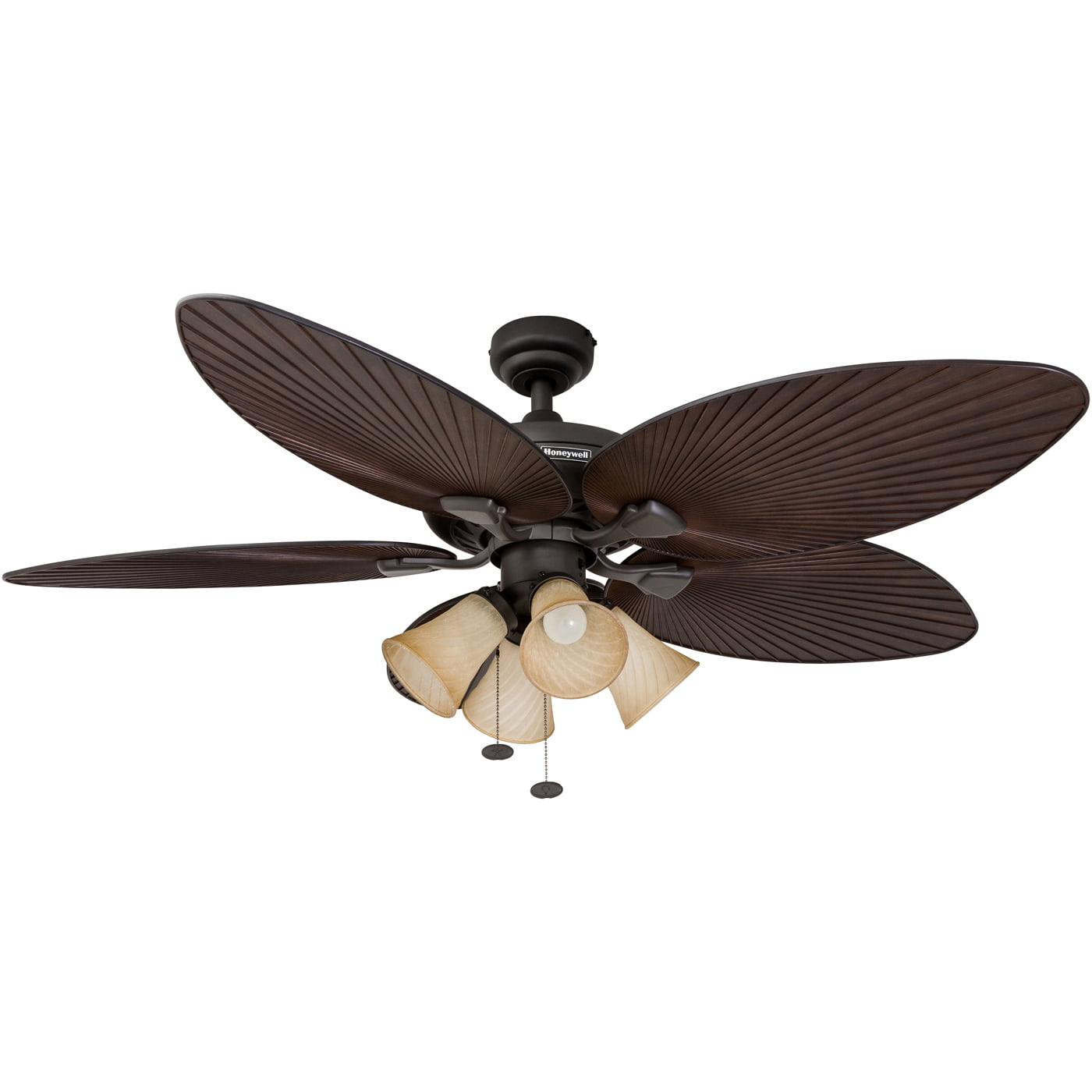 "52"" Honeywell Palm Island Bronze, Tropical Ceiling Fan with 4 Light by HKC"