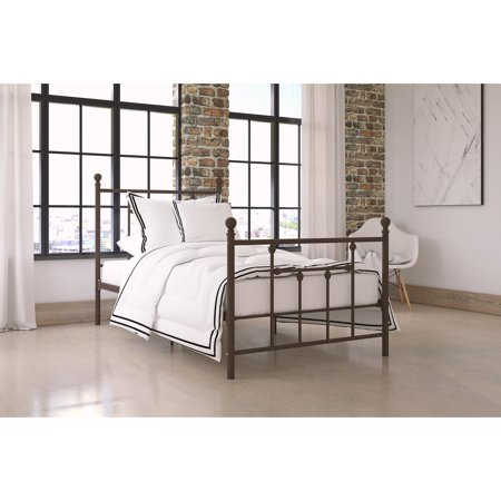 - DHP Manila Metal Bed with Victorian Style Headboard and Footboard, Includes Metal Slats, Multiple Sizes and Finishes