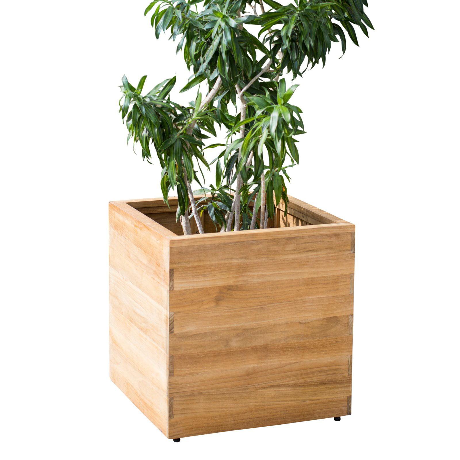 MoDRN Teak Wood Square Planter