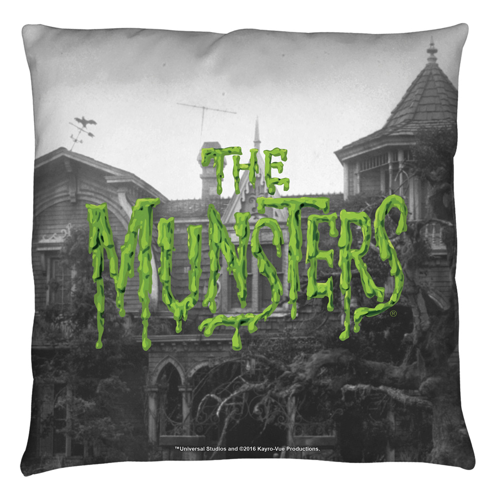 The Munsters Logo Throw Pillow White 14X14