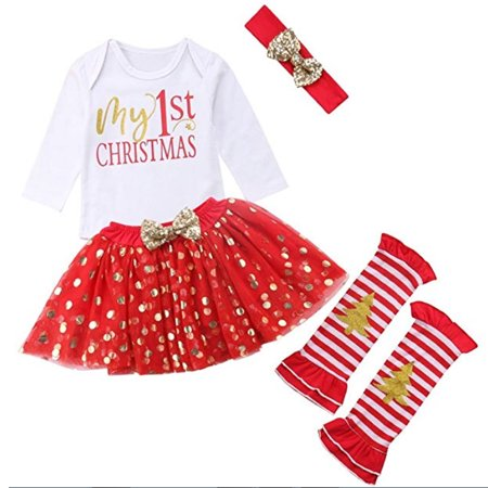Baby Girls My 1st Christmas Romper + Polka Dot Tutu Skirt + Leg Warmers + Headband Set 4Pcs Xmas Outfits