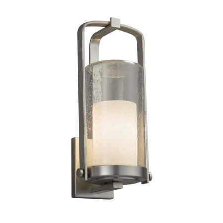 Justice Design  Group Fusion Atlantic 1-light Brushed Nickel Outdoor Wall Sconce, Opal Cylinder - Flat Rim Shade