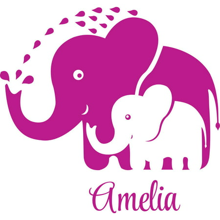 Personalized Name Vinyl Decal Sticker Custom Initial Wall Art Personalization Decor Childrens Girl Baby Nursery Room Elephants 12 Inches X 12 Inches