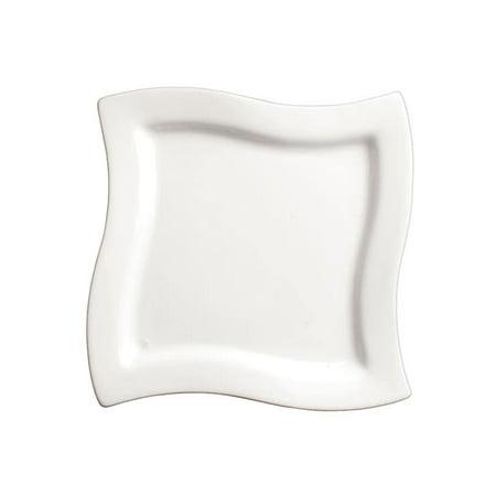 Winco WDP011-102, 7-1/2-Inch Ardesia Cramont Porcelain Square Swirl Bowl, Bright White, 24/CS