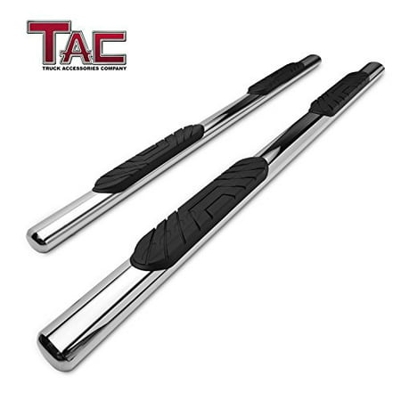 "TAC Side Steps Fit 2019 Chevy Silverado / GMC Sierra 1500 Crew Cab Truck Pickup 4"" Oval Tube Stainless Steel Side Bars Nerf Bars Step Rails Running Boards Off Road Exterior Accessories (2"