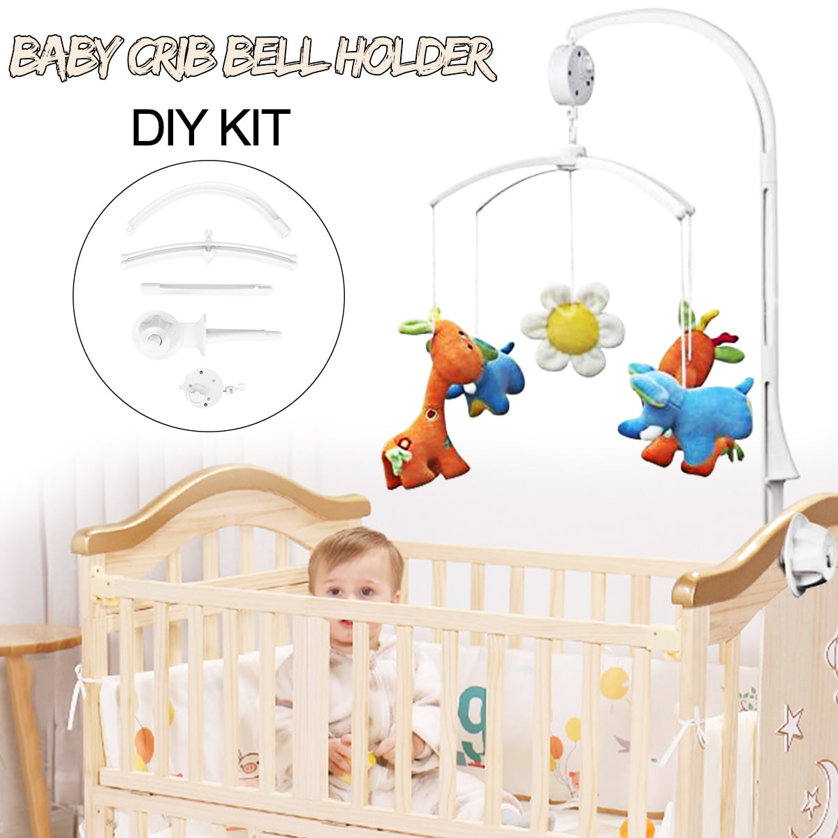 Baby Kids Crib Mobile Bed Bell Toy Holder Arm Bracket 360 Rotate + Wind-up Music Box by