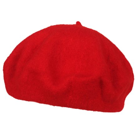 Beret Hats  Coxeer Cute Winter Solid Color Painter Beret Wool Hat For Women Girls  Red