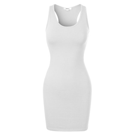 Made by Olivia Women's Fitted Sleeveless Sexy Body-Con Racer-Back Round Neck Mini Dress White M ()